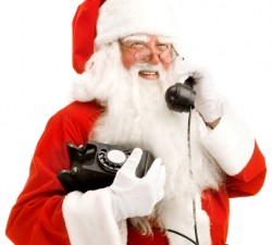 Santa Speaking on the Phone, Close-up